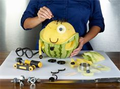 Watermelon Minion. Fantastic eatable crafts for kids.