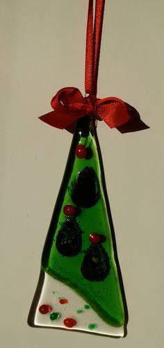 Fused glass Christmas tree decoration.