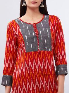 Buy Red Orange Hand Block Printed Ikat Cotton Kurta online at Theloom Simple Kurti Designs, New Kurti Designs, Stylish Dress Designs, Kurta Designs Women, Kurti Designs Party Wear, Designs For Dresses, Salwar Neck Designs, Churidar Designs, Kurta Neck Design