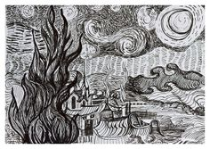 Pen and Ink Sketches | ... Rhone - after Van Gogh: a pen and ink sketch | Flickr - Photo Sharing