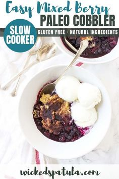 Slow Cooker Mixed Berry Cobbler has that classic syrupy fruit topped with some crunch.This Slow Cooker Mixed Berry Cobbler has that classic syrupy fruit topped with some crunch. Dairy Free Dessert Recipes Easy, Best Gluten Free Recipes, Paleo Dessert, Paleo Fruit, Paleo Crockpot Recipes, Vegetarian Recipes Easy, Cooker Recipes, Diet Recipes, Berry Cobbler