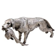 BUCCELLATI Silver Setter and Pheasant | From a unique collection of vintage figurines and sculptures at https://www.1stdibs.com/jewelry/objets-dart-vertu/figurines-sculptures/