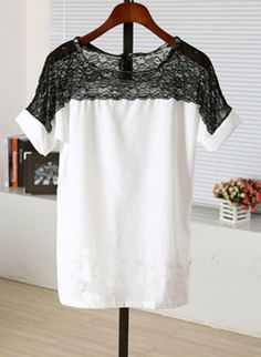 White lace blouse...love the contrast between black and white, yet it is so delicate with the lace and silk. <3