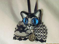 BLACK CAT ORNAMENT ooak polymer clay Halloween handmade gothic blue eyes silver