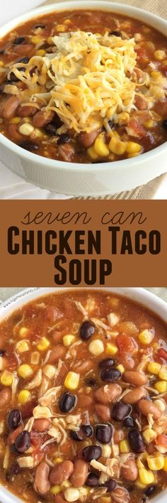 Seven Can Taco Soup. Dinner does not get any easier than this 7 can chicken taco soup! Dump 7 cans into a pot plus some seasonings and that's it! Serve with tortilla chips, cheese, and sour cream. You won't believe how yummy & easy it is. Mexican Food Recipes, New Recipes, Soup Recipes, Chicken Recipes, Dinner Recipes, Healthy Recipes, Recipe Chicken, Dinner Ideas, Vegetarian Recipes