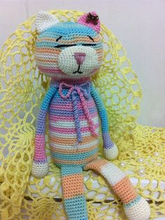 Amineko. Crocheted Animals, Cat Crochet, Teddy Bear, Couture, Animals, Templates, Birds, Tricot, Teddy Bears