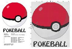 Pokemon Pokeball with text free cross stitch pattern 70x87
