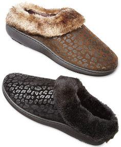 Isotoner Cheetah Microsuede Faux Fur Lena Hoodback Slipper- slipper itself is ugly but cheetah idea may be cute