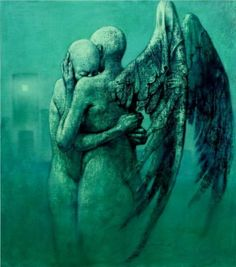 The Dark Fantasy Art of Dariusz Zawadzki Angels Among Us, Angels And Demons, Twin Flame Love, Twin Flames, Arte Obscura, Ange Demon, Dark Fantasy Art, Angel Art, Surreal Art