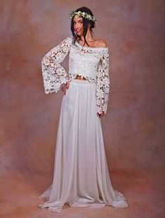 Cheap robe mariage, Buy Quality long sleeve bridal gown directly from China summer wedding dress Suppliers: Two Pieces Summer Wedding Dress Off the Shoulder Lace Applique Long Sleeves Bridal Gowns sexy beach wedding dresses Robe Mariage 2 Piece Wedding Dress, Bohemian Wedding Dresses, Cheap Wedding Dress, Boho Wedding Dress, Boho Dress, Bridal Dresses, Boho Bride, Boho Fashion Summer, Bohemian Mode