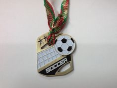Gold Soccer Christmas Tree Ornament with Ribbon by GiftWorks CLICK NOW to buy for $8.95 with FREE SHIPPING!