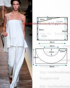 PASSO A PASSO MOLDE DE BLUSA Corte um retângulo de tecido com a altura e largura que pretende. Dobre ao meio o retângulo. Desenhe em linha curva o decote d