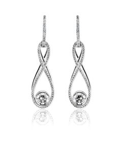 From designer Simon G. comes these gorgeous diamond earrings. The Simon G earrings are set in 18 karat white and yellow gold and feature .48 carat total weight round cut diamonds with .57 carat total weight princess cut diamonds.