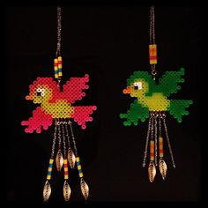 Birdies hama bead ornaments by femb0t; uses perler beads which means the kids can help!