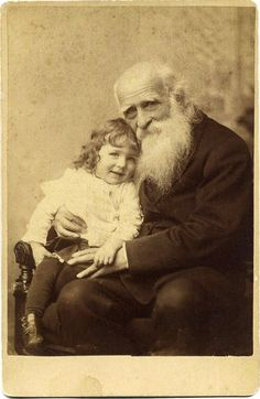 Abolitionist Theodore Dwight Weld (1803 - 1895) sits for a portrait with his Granddaughter - at Pelham's Studio, 44 Boylston Street in Boston - late 1800s