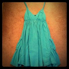 Aqua VS cotton dress w/pockets Excellent condition! Very fun and swingy and fully lined. Victoria's Secret Dresses