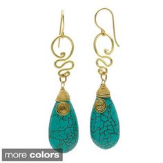Brass Turquoise Teardrop Swirl Earrings (Thailand)