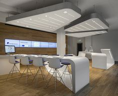 VZ Desk Finanzportal Store by NAU Architects in Zurich Design Blog, Store Design, Office Interior Design, Office Interiors, Architecture Details, Interior Architecture, Office Fit Out, Exhibition Booth Design, Office Wall Decor