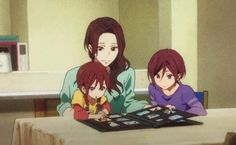 Rin, Gou, and their beautiful momma! Sad Anime, Kawaii Anime, Rin Matsuoka, Anime Siblings, Anime Friendship, Splash Free, Free Eternal Summer, Free Iwatobi Swim Club, Kyoto Animation
