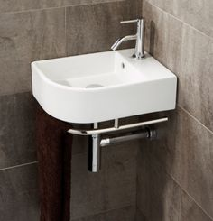Temoli Cloakroom Basin, PC: w x d, includes towel rail, Corner Sink Bathroom Small, Cloakroom Toilet Downstairs Loo, Cloakroom Sink, Small Toilet Room, Corner Basin, Cloakroom Ideas, Basement Bathroom, White Bathroom, Master Bathroom