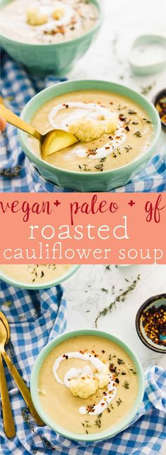 This Roasted Cauliflower Soup uses very little ingredients to create a flavour packed creamy, thick and fluffy soup! Perfect weeknight dinner for those busy days! Vegan, gluten free, paleo and clean eating. via jessicainthekitchen.com