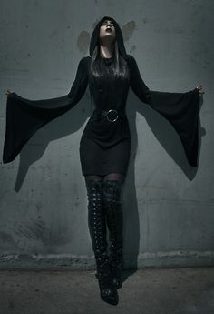 Ashley  Joncas - Kill Star Witch Hooded Dress, Guess? Lace Up Boots - Breath of Life