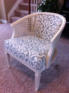 Chair Reupholster DIY! #chair_reupholster #cane_chair #reupholstery