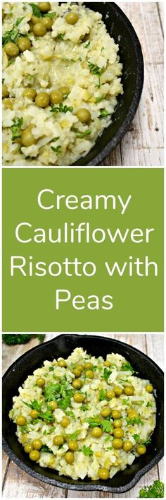 Creamy Cauliflower Risotto with Peas, low calorie, low fat