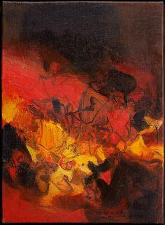 CHU TEH-CHUN (1920) Composition Huile sur toile signée en bas à droite, contresignée et datée 10 mai 1979 33 x 24 cm Oil on canvas, signed lower right, countersigned and dated 10 May 1979. Provenance : acquis directement auprès de l'artiste lors de l'exposition de Pérouges à la maison du Prince en 1982.