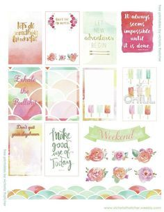 Free Watercolor Printable Planner Stickers for Happy Planner from Victoria Thatcher.