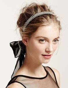 Crystal Headband with Chiffon Ties, Style HR3079 #davidsbridal #weddinghair #accessories