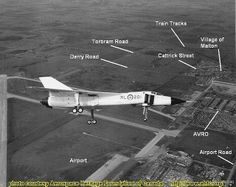 Avro Arrow over Malton w labels Airplane Fighter, Fighter Aircraft, Fighter Jets, Military Jets, Military Aircraft, Avro Arrow, V Force, Airport Photos, Aircraft Photos