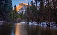My favorite little spot yields a colorful sunset photo of Half Dome Yosemite[OC][3022x1889]   landscape Nature Photos