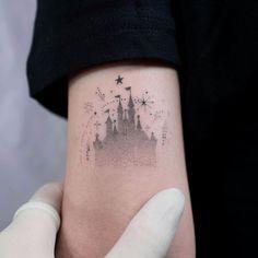 13 Disney Tattoos for the Ultimate Stan - Magic Kingdom tattoo inspo from South Korean tattoo artist OiTATTOOER. Click the link for more tatt - Dot Tattoos, Dot Work Tattoo, Mini Tattoos, Disney Tattoos Small, Small Tattoos, Disney Tattoo Quotes, Disney Inspired Tattoos, Disney Sleeve Tattoos, Tattoo Disney
