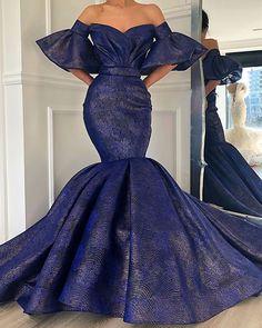 Gorgeous mermaid design in indigo blue. African Prom Dresses, Latest African Fashion Dresses, African Print Fashion, African Dress, Dinner Gowns, Evening Dresses, Elegant Dresses, Beautiful Dresses, African Attire
