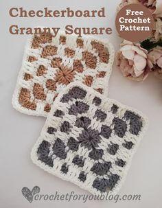 Crochet Checkerboard Granny Square Free Pattern - Crochet For You Crochet Granny Square Afghan, Crochet Blocks, Granny Square Crochet Pattern, Crochet Squares, Crochet Motif, Crochet Designs, Free Crochet, Crochet Patterns, Granny Squares