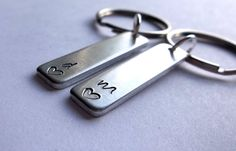 Couple Initial Keychain - Keychains for Couples - His Hers - Personalized Couples Keyring - For Boyfriend Girlfriend - Wife Husband by CaliGirlCustoms on Etsy