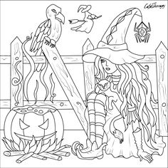 Girl Halloween Stuff Adult Coloring Pages Color Sheets Activities Mandala Apple Holiday