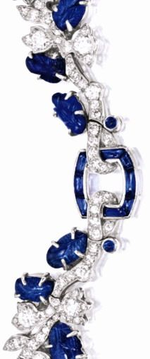 Late Art Deco sapphire and diamond necklace by Cartier, circa 1930. Via Diamonds in the Library.