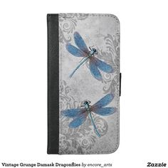 Vintage Grunge Damask Dragonflies Wallet Phone Case For iPhone 6/6s - Sold at Encore_Arts on Zazzle.