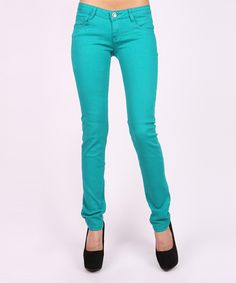 Look at this Machine Jeans Inc. Turquoise Skinny Jeans on #zulily today!