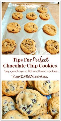 Recipe with tips For Perfect Chocolate Chip Cookies! Never flat, always soft - oh so good.   SweetLittleBluebird.com