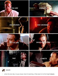 You are damaged and broken and unhinged, but so are shooting stars and comets. Obi-Wan Kenobi
