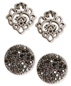 Lucky Brand Earrings Set, Silver-Tone Pave and Openwork Stud Earrings