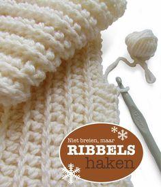 maar RIBBELS HAKEN ribbing that looks like knitting but it's crochet Love Crochet, Learn To Crochet, Diy Crochet, Crochet Crafts, Crochet Hooks, Crochet Baby, Crochet Projects, Ribbed Crochet, Crochet Tutorials