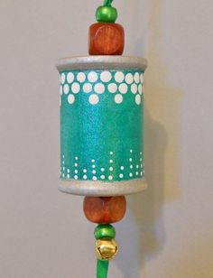 Handpainted Wooden Spool Christmas, winter, colorful, decorative Ornament. $7.50, via Etsy.