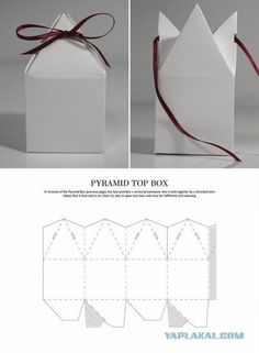 Gift Box Pyramid Top Box - Packaging & Dielines: The Designer& Book of Packaging Die. Packaging Dielines, Gift Packaging, Packaging Design, Product Packaging, Paper Packaging, Retail Packaging, Diy Paper, Paper Crafts, Cardboard Box Crafts