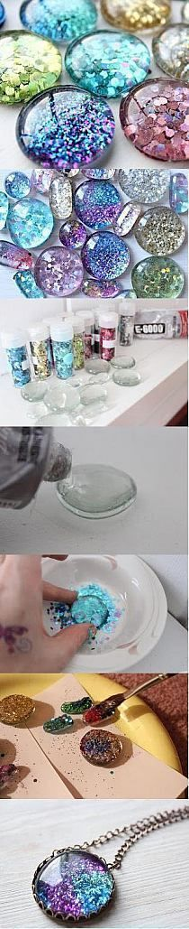 Glittery glue dots - It looks like those glass filler stones E-6000 and glitter for the materials