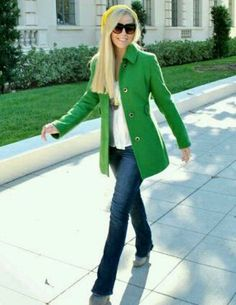 Bright green jacket and jeans