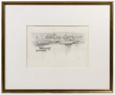 """Lot 336: Edward Potthast (American, 1857-1927) """"Boats in a Harbor"""" Graphite on Paper; Undated, no visible signature, depicting boats in water with buildings in the background; originally from the estate of the artist and exhibited in the Evansville Museum of Art; attached paper information and writing en verso"""